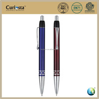 Metal barrel with gemstone ballpoint pen