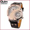 Oulm designer dual time zone watch, man wholesale wrist watch