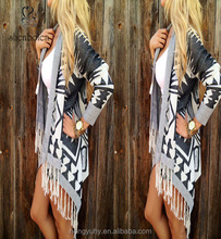 M40759 New 2015 fashion long aztec cardigan for women with tassel wholesale from clothing factory/manufacturers