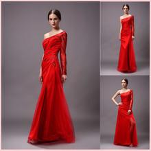 Latest red lace printed design one shoulder long sleeve vestidos de fiestas 2015 formal women dresses sparkle blue prom dress