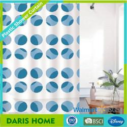 Blue dots design shower curtain, Colorful Dots Fancy Shower Curtain Fabric, Colorful Dots plastic Shower Curtain Fabric