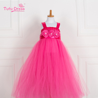 2015 Fashion girl Beautiful Children flower girl dress pink princess baby girl wedding dress for party birthday