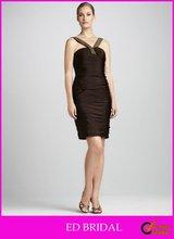 A Line V Neck Beaded Neckline Knee-Length Square Back Taffeta Allover Ruching Cocktail Dresses