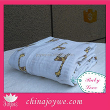 Popular Giraffe Design Baby Muslin Swaddle Blanket Wrap 100% Organic Cotton 47 Inches Square