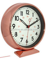 Rose gold bedside matelic table clock with curve glass lens