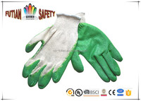 FTSAFETY green crinkle finish latex palm coated kntting gloves polyester cotton