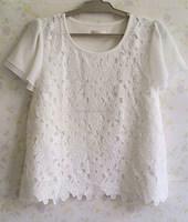 White cotton lace chiffon t-shirt short sleeve flower stitching sweet lady t-shirt