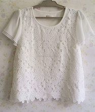 White cotton lace chiffon t-shirt short sleeve flower stitching sweet lady t-shirt