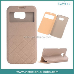 Wholesale PU Leather Stand Window Case For Samsung Galaxy S6