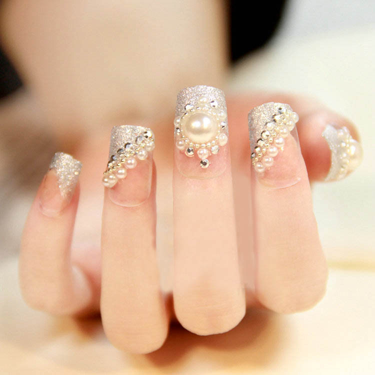 White Tip Acrylic Nails With Gems Art Tips Pearl Acrylic Gem