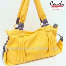 nueva llegada de bolsas de dama 2014 amarillo de la moda de las señoras bolso de mano