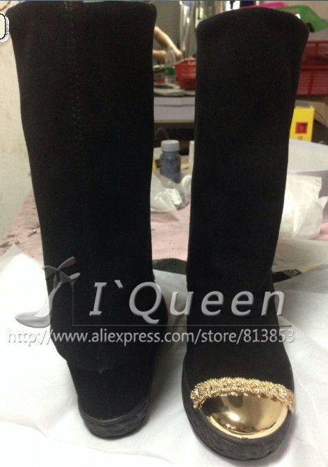 2015  Knee High Boots Autumn Boots Genuine Leather Boots Fashion Gold