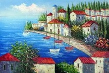 Artwork gift Mediterranean red castle seaside oil painting canvas home art decor factory direct