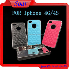 Hight Quality Guarantee Mobile Phone Case For Iphone 4G 4S, PU Leather+Aluminum Case For Iphone 4G 4S