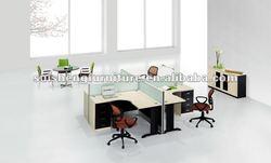 2012 modern new design + shape 4 Seats Modern OEM T8 Aluminum melamie metal legs office workstaton furniture with fixed pedestal