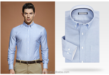 Classic 100% cotton oxford long sleeve with button down collar workwear shirt for men