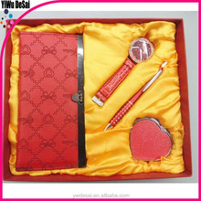 Promotional gift set in box latest hot sell for women(watch+pen+wallet+mirror)