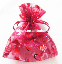 Wedding Gift Decoration Red Organza Drawstring Bag printing with gold hearts