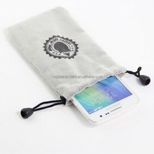 Custom cheap mobile phone bag drawstring cell phone pouch soft protective phone bag