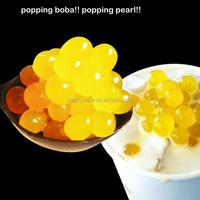 mango popping boba for bubble tea