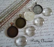 25mm Blank pendant trays, Antique silver toned blank Wholesale round bezel cabochon setings