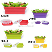Silicone folding food container, Leakproof Silicone collapsible lunch box keep food hot for school