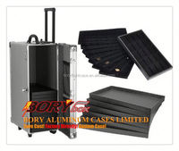 LARGE TRAVEL ALUMINUM JEWELRY CARRY CASE ROLLING CASE WITH JEWELRY TRAYS