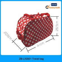 2015 new design korean style red color big dots printed cheap school bag trolley, girl trolley school bag, school trolley bag