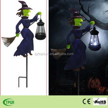Metal witch with solar lantern Halloween ornaments