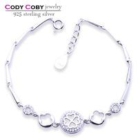 19 cm New Models fahion 925 Sterling Silver Clover Bracelets, Wholesale CZ Diamond Tanishq Jewellery Bracelet Designs