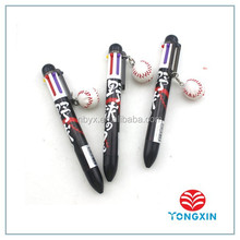 2015 high quality multi ink 6 color ball pen with charm