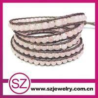 5 rows nice color leather wrap bracelet with rose quartz