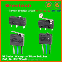 waterproof push button switch 12v, Taiwan Zing Ear micro switch t125 5e4