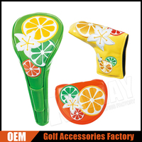 Unique Embroidery Glossy PU Leather Golf Head Cover Set For Wood/Putter