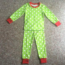 2015 baby clothing kids pajamas children plain green red polka dots boys girls long sleeve 100% cotton pyjamas child pajamas