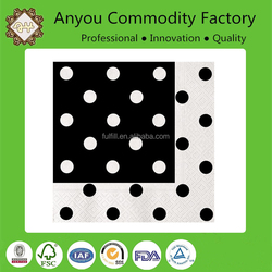 Custom print napkins with black and white dots