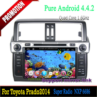 Double din car dvd play quad core android for toyota prado dashboard with gps mp3 tv wifi 3G/4G SWC mirror link 2 years warranty