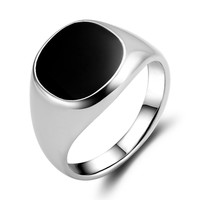 2015 New high quality plated classic silver men rings black enamel painting jewelry fashion