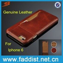 Back cover case with REAL leather for iphone 6 wholesale phone case hot selling