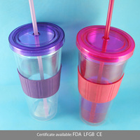 With silicone cover 24oz/680ml FDA cheap adult plastic cup with dome lid