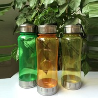BPA-free Plastic Blank Water Bottles With Stainless Steel Lid And Bottom