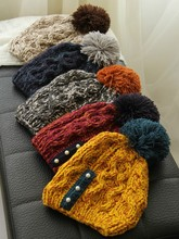 C84358A Women warm thick winter hats,lady fashion earflaps knitted hats