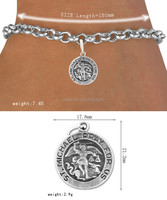 Free Shipping Zinc Alloy Antique Silver Tone Michael Pray For Us Charm Bracelet Lead And Nickle Free(OSH101992)
