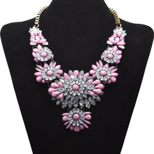 whole shinning colorful flated flower necklace luxury nightclubs necklace