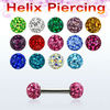 Surgical steel Helix piercing, 14g (1.6mm) with two 4mm multi crystal balls