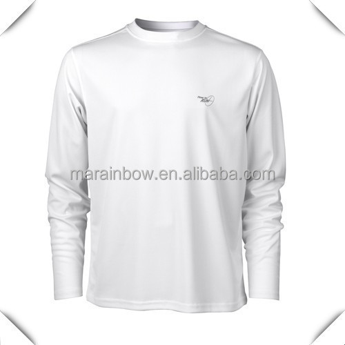 Wholesale long sleeve plain white bulk sports t shirts tee Cheap plain white shirts