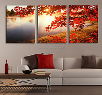Beautiful for home decoration autumn yellow tree sunrise oil painting