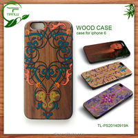 For iphone4'' Bamboo wood leather case,hand made,hard wood protective hard wood pc cae for iphone 6/6+