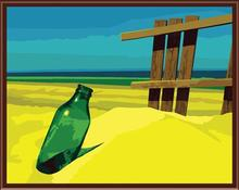 still life sand beach and bottle design abstract oil painting by numbers GX6540