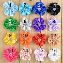 Wholesale Petite Satin Ribbon Flower With Rhinestone Garment Shoe Applique Decoration Flower